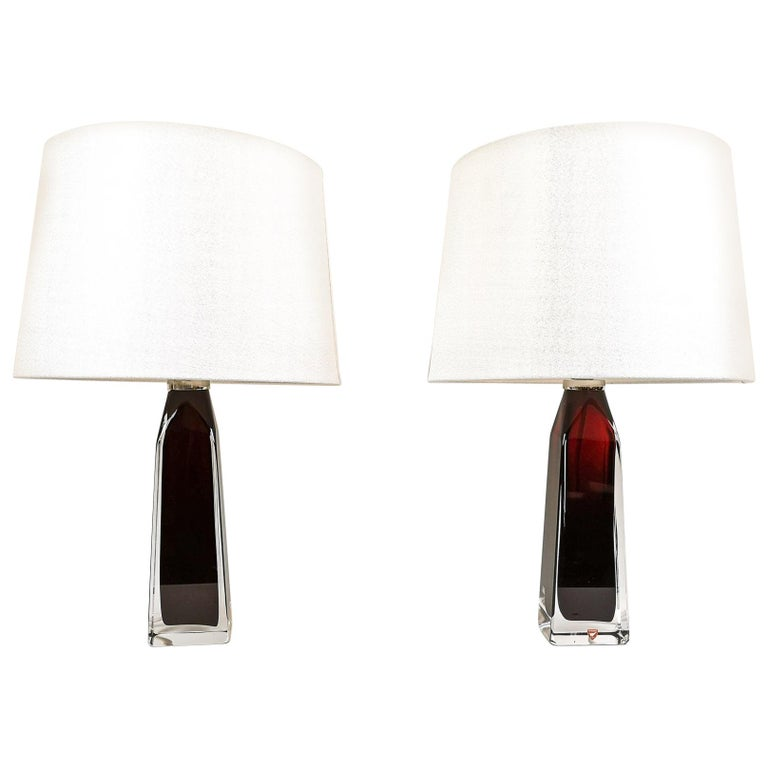 Midcentury Table Lamps by Carl Fagerlund for Orrefors Sweden RD 1884 For Sale