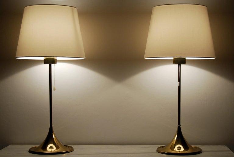 Scandinavian Modern Midcentury Table Lamps in Brass by Bergboms, Sweden, 1960s For Sale