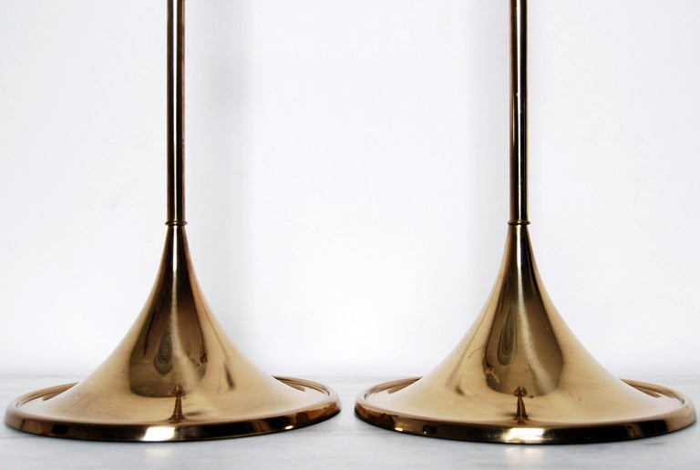 20th Century Midcentury Table Lamps in Brass by Bergboms, Sweden, 1960s For Sale
