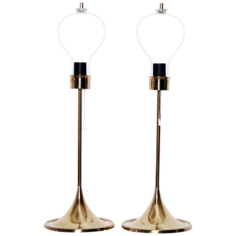 Midcentury Table Lamps in Brass by Bergboms, Sweden, 1960s For Sale