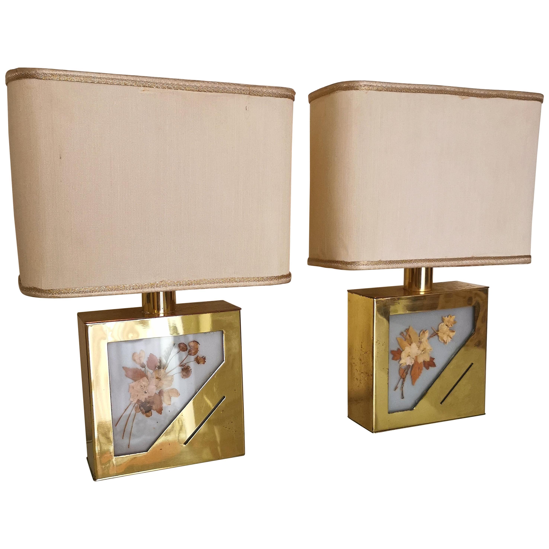 Mid Century Table Lamps Brass Plexiglass Canvas Aluminum Italy 1970s