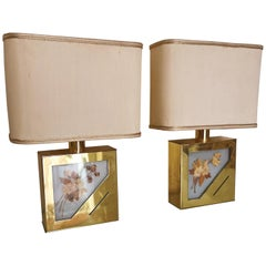 Midcentury Table Lamps in Brass, Plexiglass, Canvas and Aluminum, Italy, 1970s