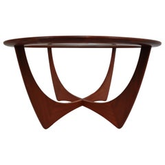 Midcentury Table of Afromisa Wood with Glass by V.B. Wilkins for G-Plan