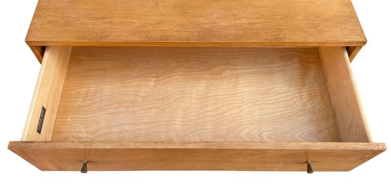 20th Century Midcentury Tall Dresser by Paul McCobb Planner Group #1501 Maple Brass Knobs