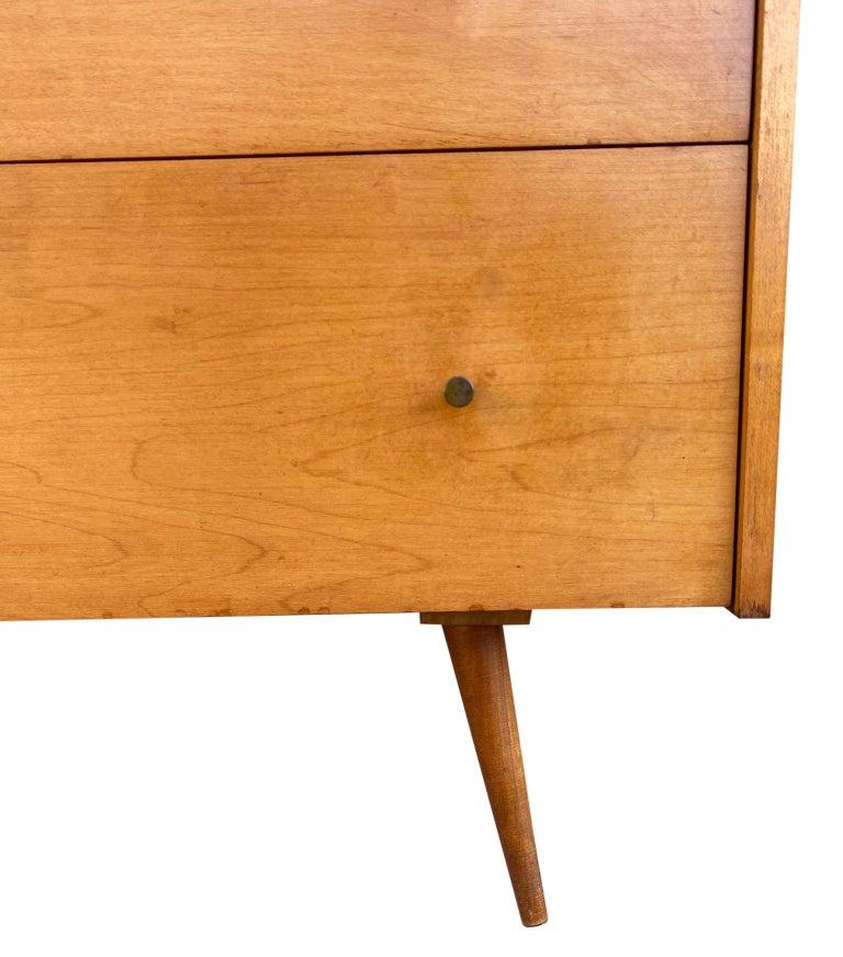 Midcentury Tall Dresser by Paul McCobb Planner Group #1501 Maple Brass Knobs 2