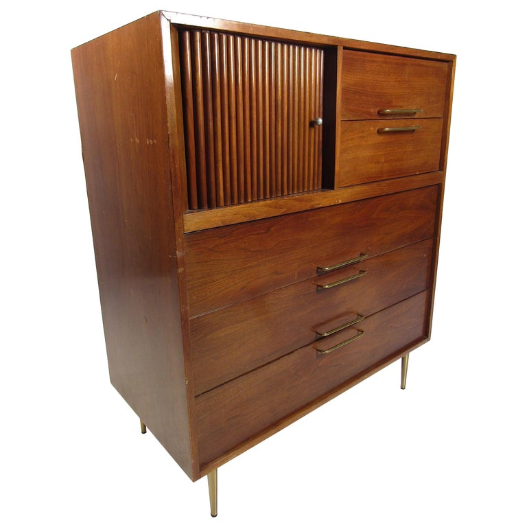 Midcentury Tall Dresser in Walnut For Sale