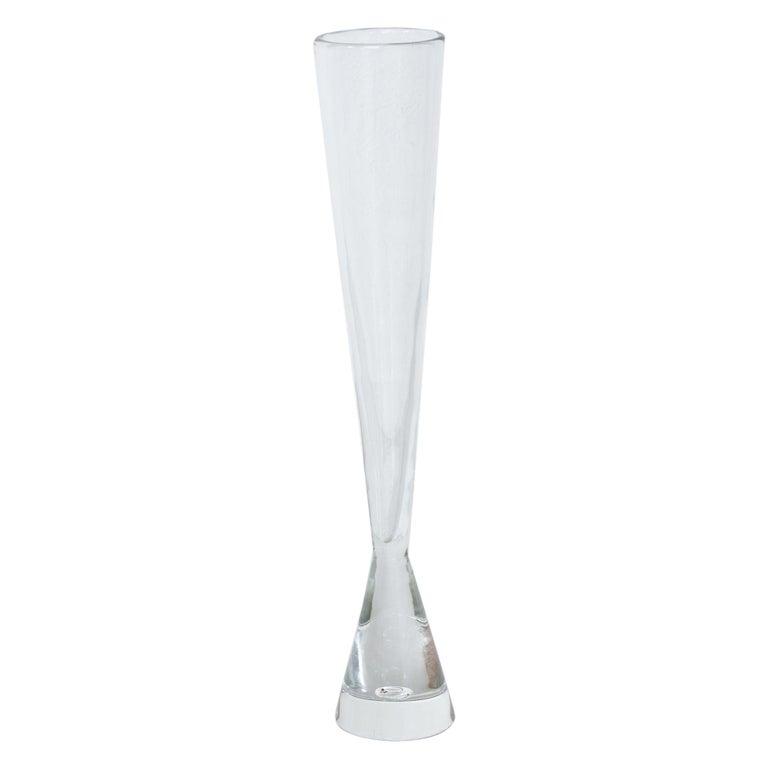 Midcentury Tall Glass Vase by Bengt Orup, Sweden For Sale