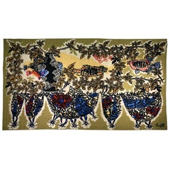 """Midcentury Tapestry """"L' Aquarium"""" Signed by Jean Lurcat, Edited by Corot"""