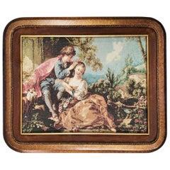 Midcentury Tapestry with Velvet Frame
