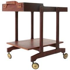 Midcentury Teak and Brass Italian Bar Cart, 1960s