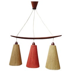 Midcentury Teak and Cord Shade Chandelier by Temde, Germany, 1960