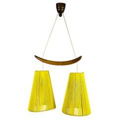 Midcentury Teak and Cord Shade Hanging Lamp, circa 1960