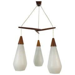 Midcentury Teak and Opaline Glass Cascade Pendant Lamp in the Style of Luxus