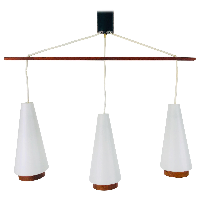 Midcentury Teak and Opaline Glass Pendant Lamp, 1960s