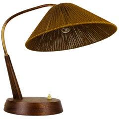Midcentury Teak and Rattan Table Lamp by Temde, circa 1970