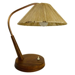 Midcentury Teak and Rattan Table Lamp by Temde, circa 1970