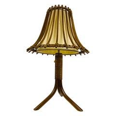 Midcentury Teak and Rattan Table Lamp, circa 1970