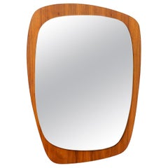 Midcentury Teak Asymmetric Wall Mount Mirror