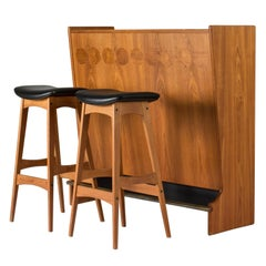 Midcentury Teak Bar with Stools by Johannes Andersen