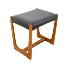Midcentury Teak & Black Vinyl Dressing Table Stool, 1960s