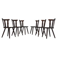 Excellent Midcentury Teak And Black Vinyl Dining Chairs By Victor Creativecarmelina Interior Chair Design Creativecarmelinacom