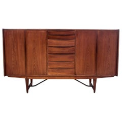 Midcentury Teak Chest of drawers Highboard, Denmark, 1960s