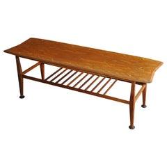 Midcentury Teak Coffee Table Low Long with Magazine Shelf
