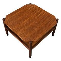 Midcentury Teak Danish Square Coffee Table in the Style of Hans Wegner, 1960s