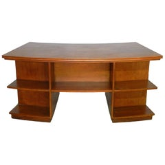 Midcentury Teak Desk Writing Table Curved Double Sided