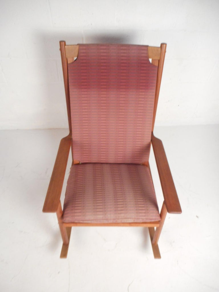 Midcentury Teak Dux Rocking Chair By Hans Olsen For Sale