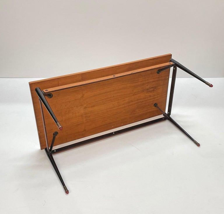 Midcentury Teak, Enamelled Iron and Brass Italian Coffee Table, Cavatorta 1960s For Sale 5