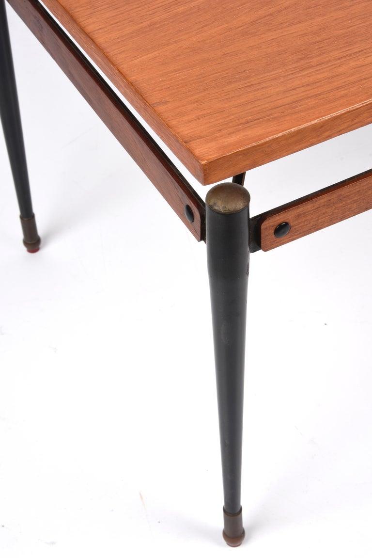 Midcentury Teak, Enamelled Iron and Brass Italian Coffee Table, Cavatorta 1960s For Sale 7
