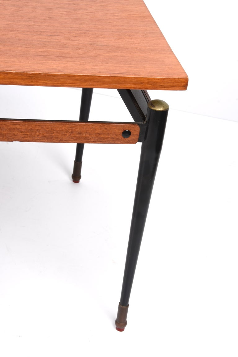 Midcentury Teak, Enamelled Iron and Brass Italian Coffee Table, Cavatorta 1960s For Sale 8