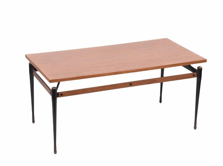 Mid-Century Modern Midcentury Teak, Enamelled Iron and Brass Italian Coffee Table, Cavatorta 1960s For Sale