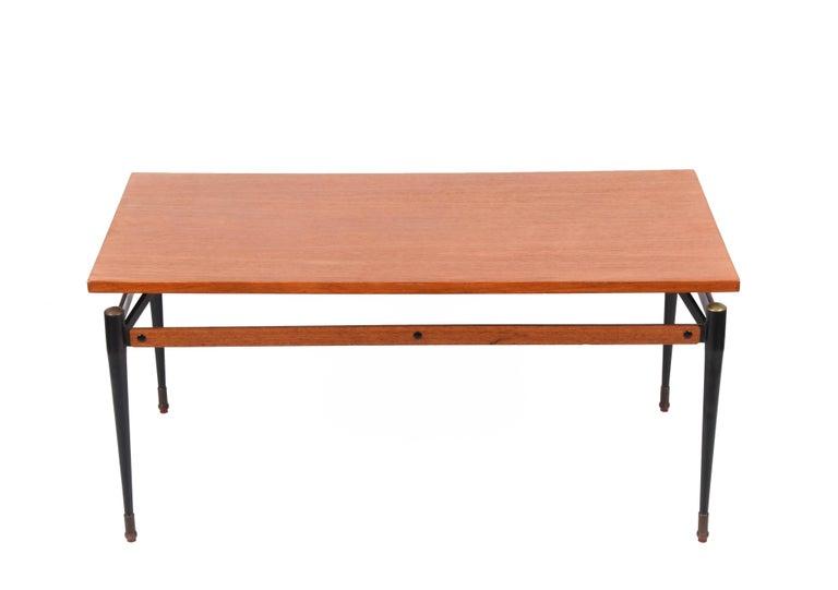 Enameled Midcentury Teak, Enamelled Iron and Brass Italian Coffee Table, Cavatorta 1960s For Sale