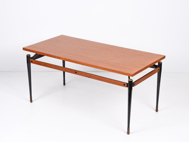 Mid-20th Century Midcentury Teak, Enamelled Iron and Brass Italian Coffee Table, Cavatorta 1960s For Sale
