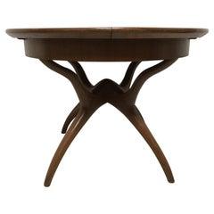 Midcentury Teak Extending Dining Table with Organic Style Cross Frame Legs