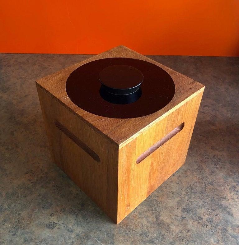 Midcentury Teak Ice Bucket by Morgan Designs For Sale 4