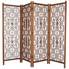 Midcentury Teak Kumiko Folding Screen Room Divider Japanese Art Latticework