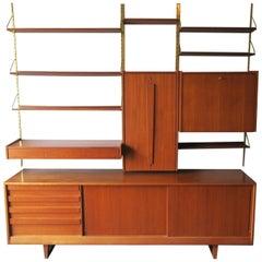 Midcentury Teak Modular Shelf System with Low Sideboard, 1960s