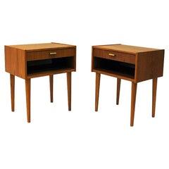 Midcentury Teak Night / Side Table Pair from Sweden, 1950-1960s