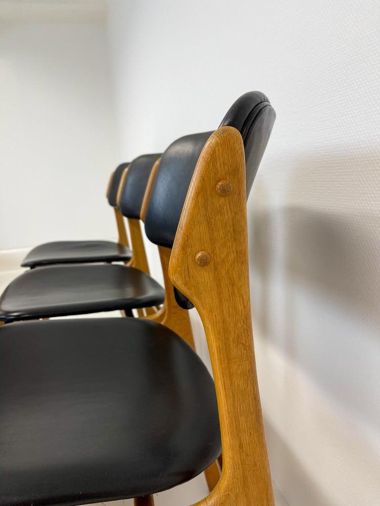 Midcentury Teak Oak-Leather Dining Chairs Erik Buch,