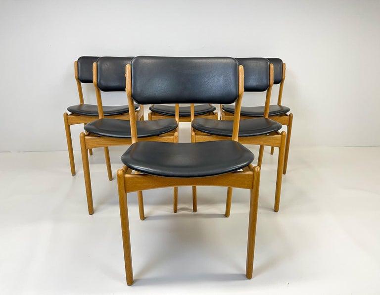 Mid-Century Modern Midcentury Teak Oak-Leather Dining Chairs Erik Buch,