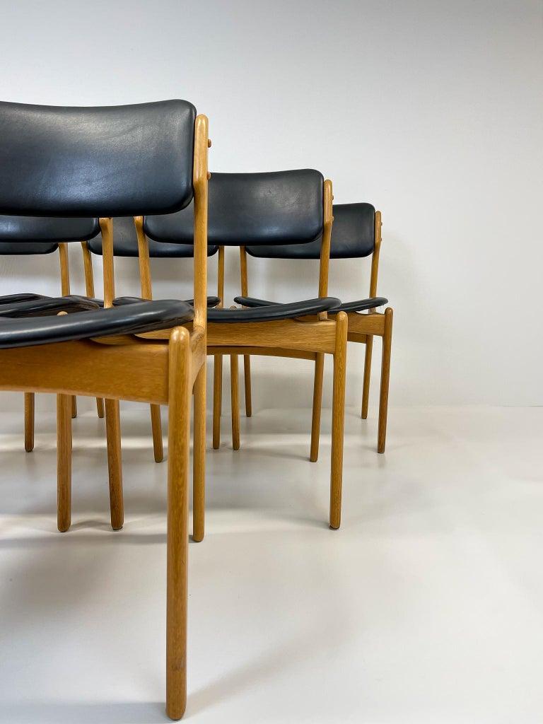 Danish Midcentury Teak Oak-Leather Dining Chairs Erik Buch,