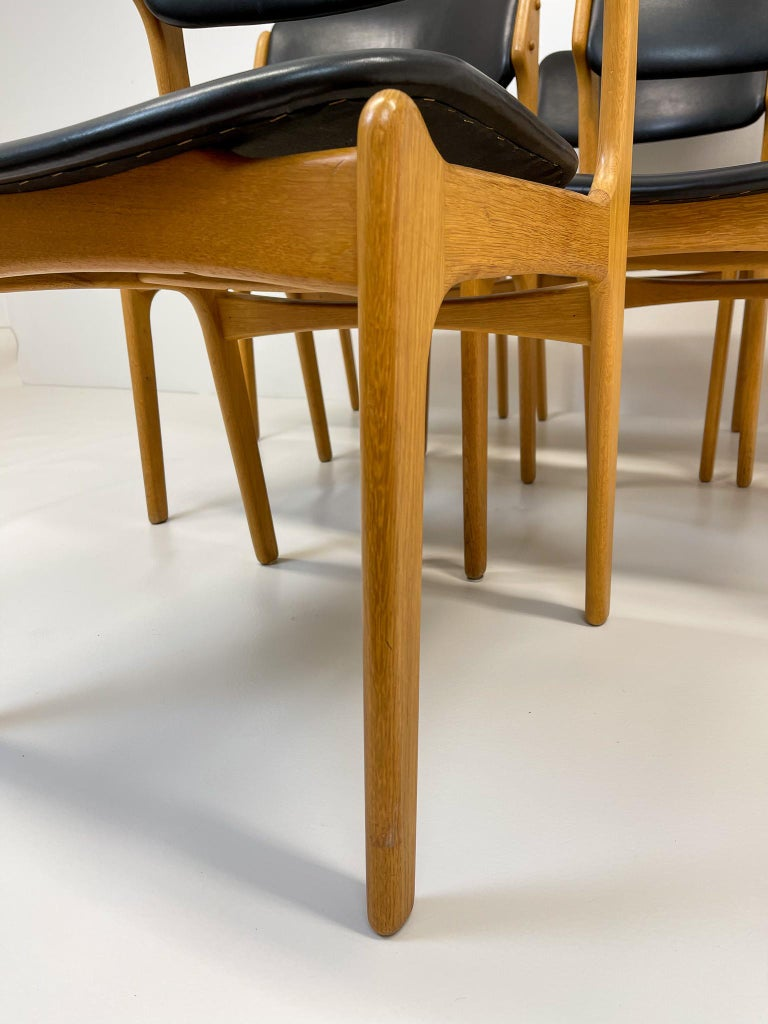 Mid-20th Century Midcentury Teak Oak-Leather Dining Chairs Erik Buch,
