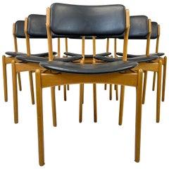 "Midcentury Teak Oak-Leather Dining Chairs Erik Buch, ""OD49"" Denmark, 1960s"