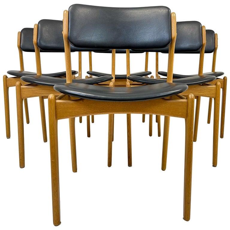 "Midcentury Teak Oak-Leather Dining Chairs Erik Buch, ""OD49"" Denmark, 1960s For Sale"