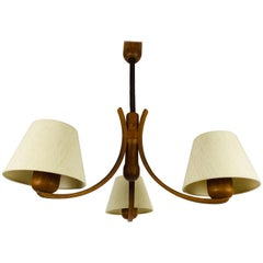 Midcentury Teak Pendant Lamp with 3 Arms by Domus, 1960s