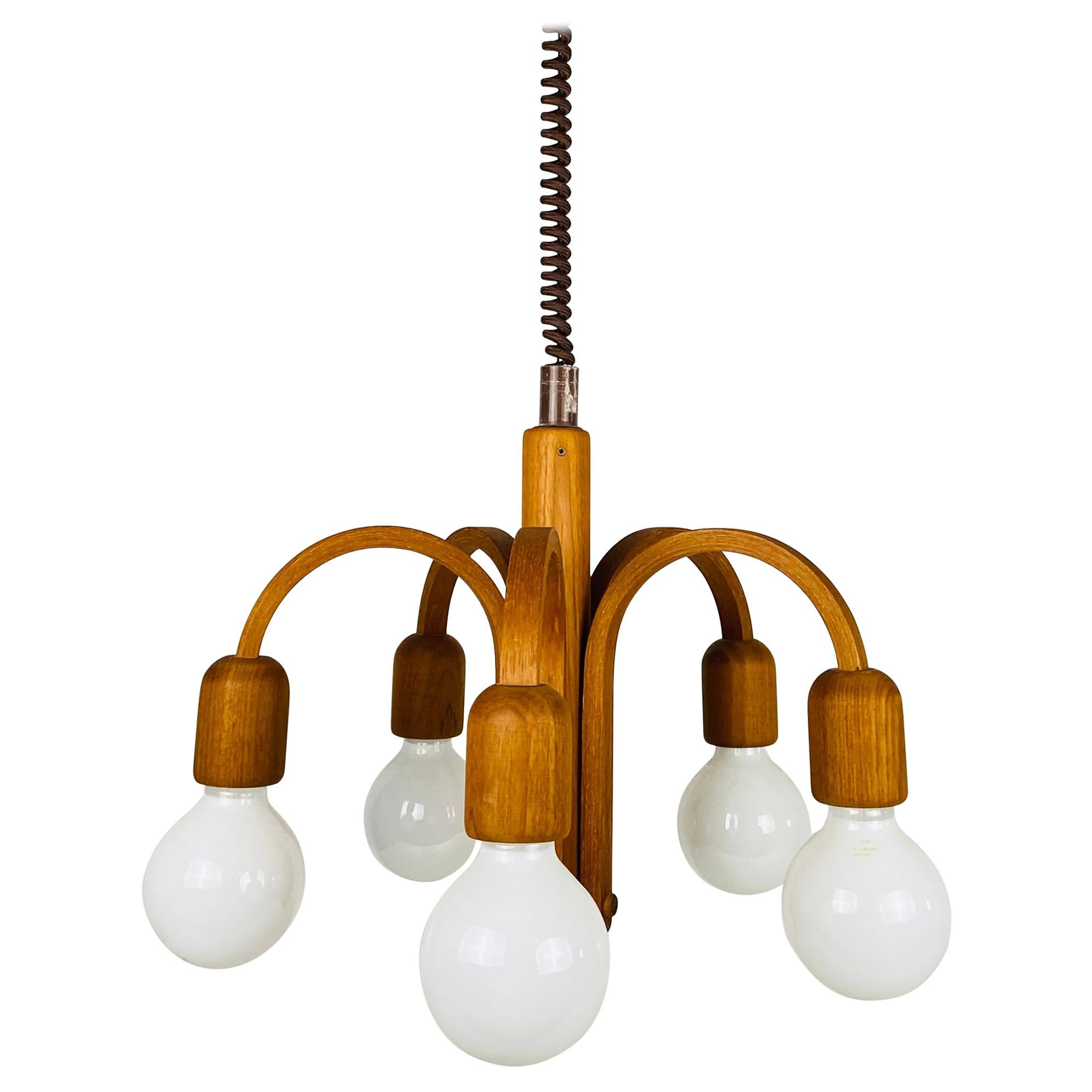 Midcentury Teak Pendant Lamp with 5 Arms by Domus, 1960s