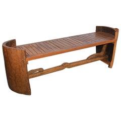 Midcentury Teak Sculptural Bench